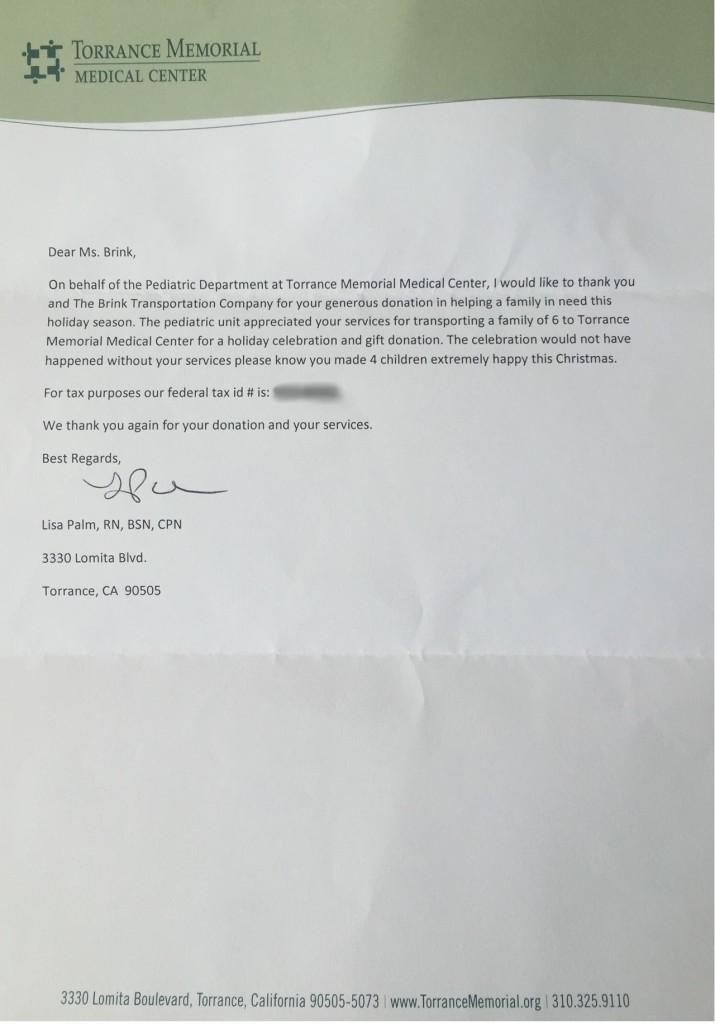 torrance memorial letter